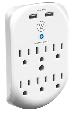 Westinghouse® 96010 Wall Surge 6, 6-Outlet 2 USB Wall Adapter - wattsonsale