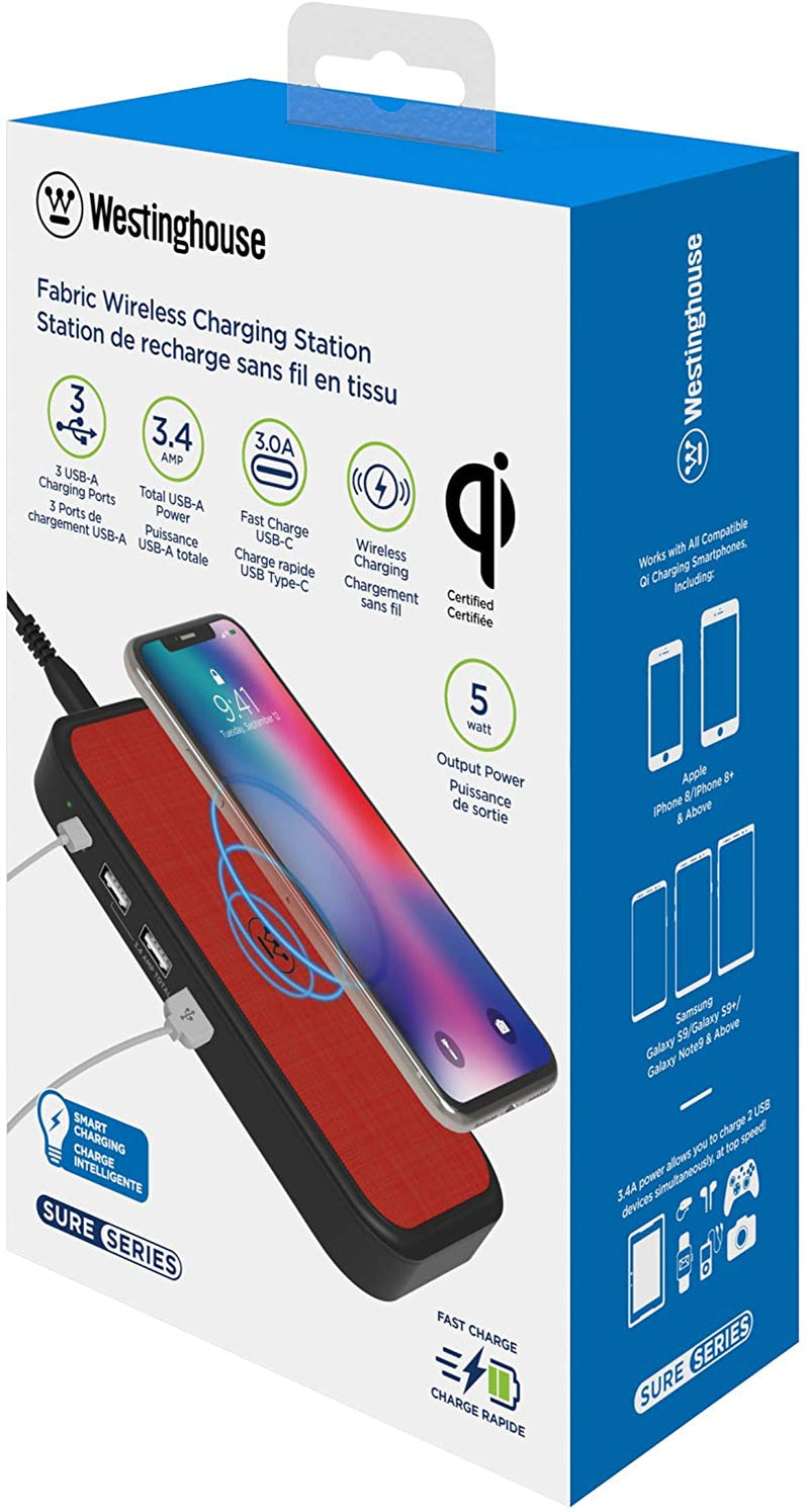 Westinghouse Fabric Surface Qi Wireless Charging Station, QC 3.0, USB-C Port