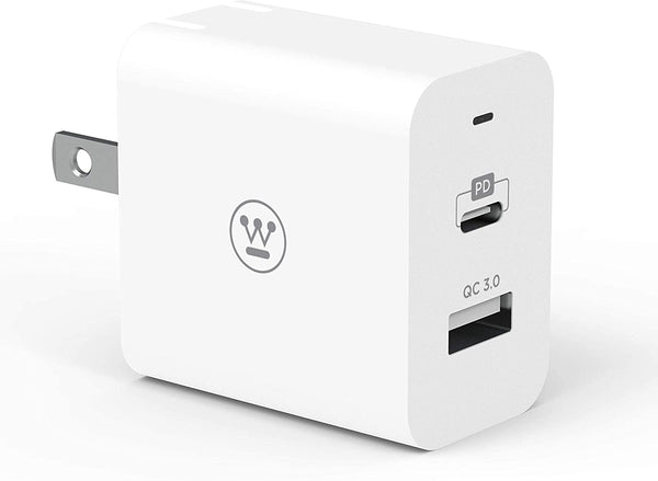 Westinghouse Ultra Compact USB/USB-C Charger, QC 3.0, 18 Watt PD USB-C Port