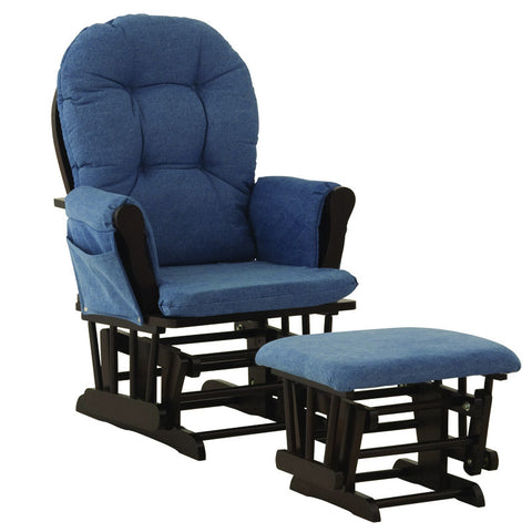 Storkcraft 06550-629 Hoop Glider&Ottoman-Espresso W/Blue Denim Cushions - Peazz Furniture