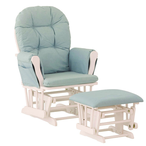 Storkcraft 06550-631 Hoop Glider And Ottoman-White/Light Denim Cushions - Peazz Furniture