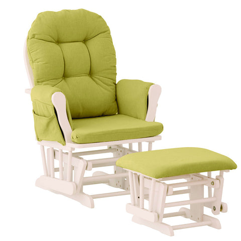 Storkcraft 06550-641 Hoop Glider & Ottoman-White W/Green Cushions - Peazz Furniture