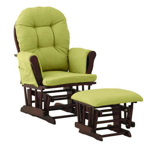 Storkcraft 06550-644 Hoop Glider & Ottoman-Cherry W/Green Cushions - Peazz Furniture