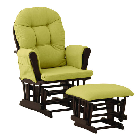 Storkcraft 06550-649 Hoop Glider & Ottoman-Espresso W/Green Cushions - Peazz Furniture