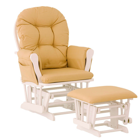 Storkcraft 06550-651 Hoop Glider And Ottoman White W/Yellow Cushions - Peazz Furniture