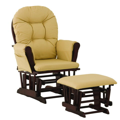 Storkcraft 06550-654 Hoop Glider & Ottoman-Cherry W/ Yellow Cushions - Peazz Furniture