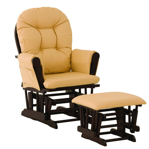 Storkcraft 06550-659 Hoop Glider & Ottoman-Espresso W/ Yellow Cushions - Peazz Furniture