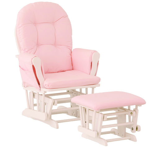 Storkcraft 06550-661 Hoop Glider & Ottoman-White W/ Pink Cushions - Peazz Furniture