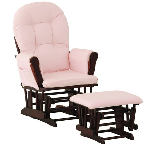 Storkcraft 06550-664 Hoop Glider & Ottoman-Cherry W/ Pink Cushions - Peazz Furniture
