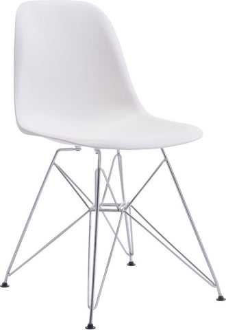 Zuo Modern 100322 Zip Dining Chair Color White Chromed Steel Finish - Peazz Furniture - 1
