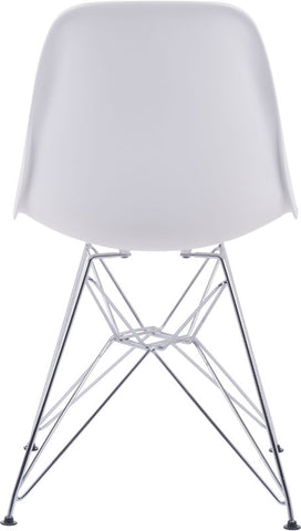 Zuo Modern 100322 Zip Dining Chair Color White Chromed Steel Finish - Peazz Furniture - 4