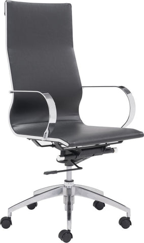 Zuo Modern 100371 Glider High Back Office Chair Color Black Chromed Steel, Brushed Aluminum Finish - Peazz Furniture - 1