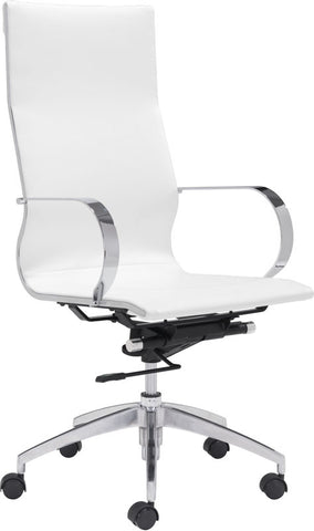 Zuo Modern 100372 Glider High Back Office Chair Color White Chromed Steel, Brushed Aluminum Finish - Peazz Furniture - 1