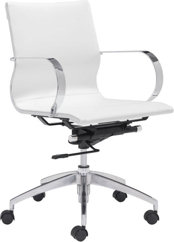 Zuo Modern 100375 Glider Low Back Office Chair Color White Chromed Steel, Brushed Aluminum Finish - Peazz Furniture - 1