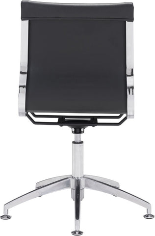 Zuo Modern 100377 Glider Conference Chair Color Black Chromed Steel, Brushed Aluminum Finish - Peazz Furniture - 4
