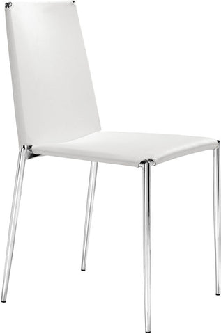 Zuo Modern 101106 Alex Dining Chair Color White Chromed Steel Finish - Set of 4 - Peazz Furniture