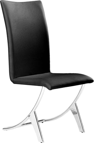 Zuo Modern 102101 Delfin Dining Chair Color Black Chromed Steel Finish - Set of 2 - Peazz Furniture - 1