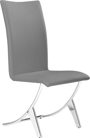Zuo Modern 102106 Delfin Dining Chair Color Gray Chromed Steel Finish - Set of 2 - Peazz Furniture - 1