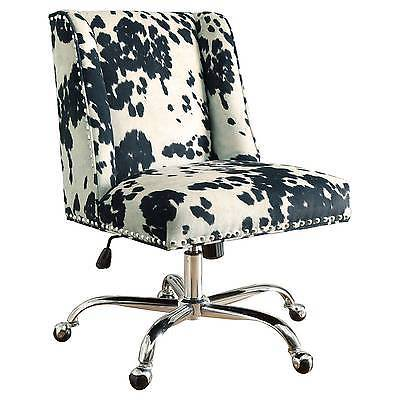 Linon 178404UDM01U Draper Office Chair Udder Madness Milk - Walnut Wood Base