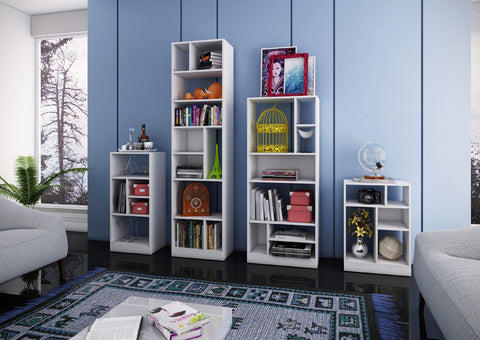 Accentuations by Manhattan Comfort Durable Valenca Bookcase 4.0 with 10- Shelves in White - Peazz Furniture - 4