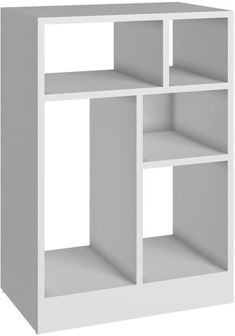 Accentuations by Manhattan Comfort Durable Valenca Bookcase 1.0 with 5- Shelves in White - Peazz Furniture - 1