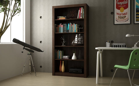Accentuations by Manhattan Comfort Classic Olinda Bookcase 1.0 with 5-Shelves in Tobacco - Peazz Furniture - 3