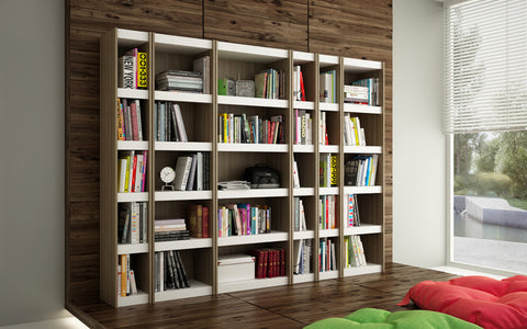 Accentuations by Manhattan Comfort Valuable Parana Bookcase 2.0 with 5-Shelves in White and Oak - Peazz Furniture - 4