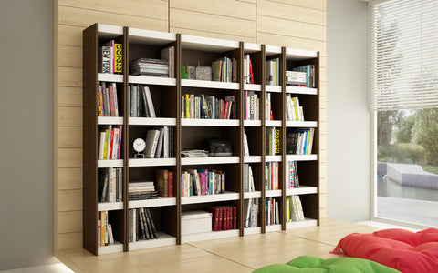 Accentuations by Manhattan Comfort Valuable Parana Bookcase 1.0 with 5-Shelves in White and Tobacco - Peazz Furniture - 4