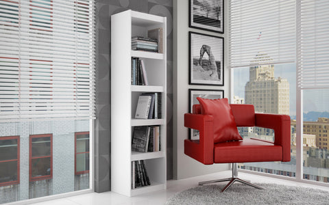 Accentuations by Manhattan Comfort Valuable Parana Bookcase 2.0 with 5-Shelves in White - Peazz Furniture - 3