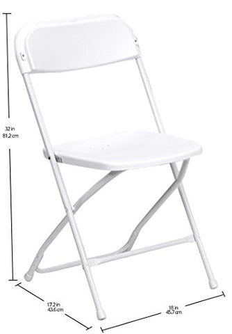 HERCULES Series 650 lb. Capacity Premium White Plastic Folding Chair LE-L-3-WHITE-GG by Flash Furniture