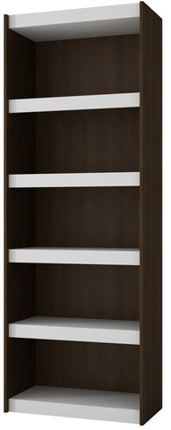 Accentuations by Manhattan Comfort Valuable Parana Bookcase 3.0 with 5-Shelves in White and Tobacco - Peazz Furniture - 1