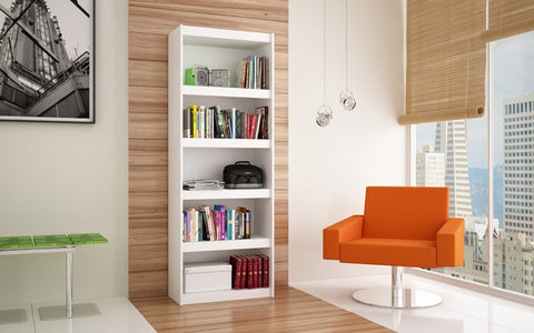 Accentuations by Manhattan Comfort Valuable Parana Bookcase 3.0 with 5-Shelves in White - Peazz Furniture - 3
