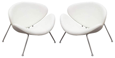 Diamond Sofa Accent Chair with Chrome Frame in White - Set of 2