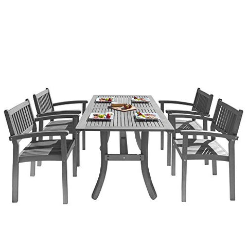 Vifah V1300SET13 Outdoor Patio Dining Set with Stacking Chairs, Hand-Scraped Wood