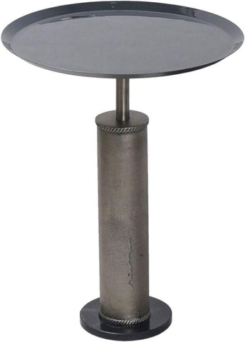 Renwil New Traditional Bama Pedestal Accent Table in Gray and Black