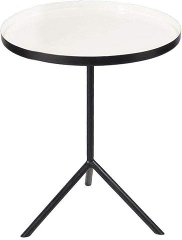 Renwil Modern Glamour Chana Pedestal Accent Table in Black and Enamel