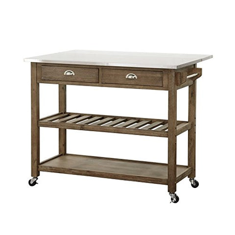 Boraam 12508 Wood & Stainless Steel Drop Leaf Kitchen Cart, One Size
