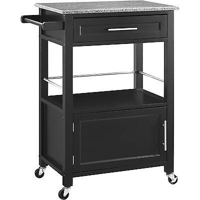 Linon 464808BLK01U Mitchell Black Kitchen Cart With Granite Top