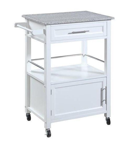 Bayden Hill 464808WHT01U Mitchell Kitchen Cart With Granite Top