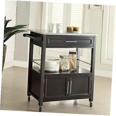 Linon 464809BLK01U Cameron Kitchen Cart With Granite Top