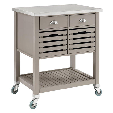 Linon 464810GRY01U Robbin Gray Wood Kitchen Cart