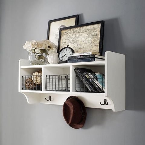 Crosley Furniture Entryway Shelf in Distressed White