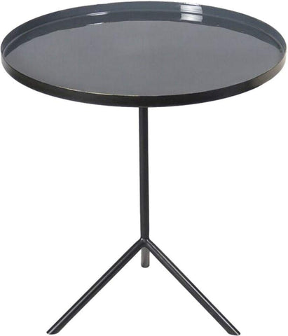 Renwil Modern Glamour Carson Pedestal Accent Table in Black and Enamel