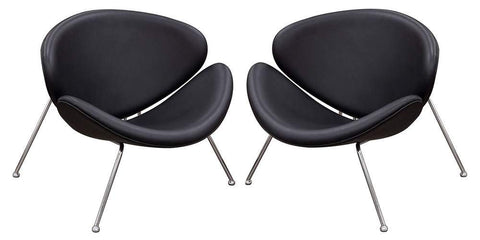 Diamond Sofa Accent Chair with Chrome Frame in Black - Set of 2