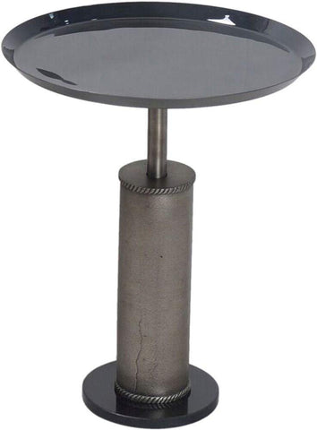 Renwil New Traditional Bena Pedestal Accent Table in in Gray and Black