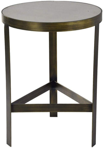 Renwil Modern Glamour Lamond Mirrored Accent End Table in Brush Bronze