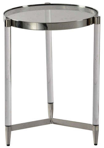 Renwil Modern Glamour Shira Glass Top Accent End Table in Chrome