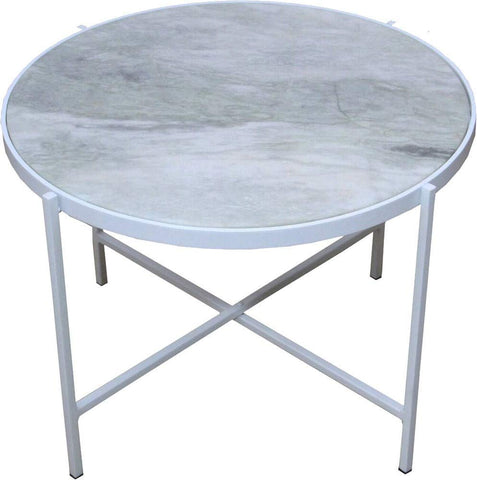 Renwil Modern Glamour Carlsbad Accent Marble Top End Table in White