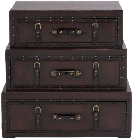 "UMA Inc Wd Lthr Trunk Dresser 32""W, 32""H - Peazz Furniture"