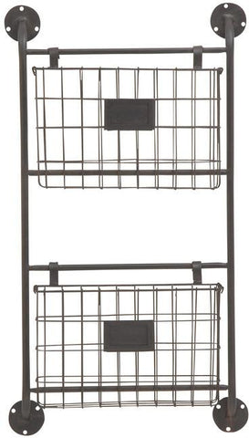 "Bayden Hill Mtl Wall Storage Rack 16""W, 28""H - Peazz.com"